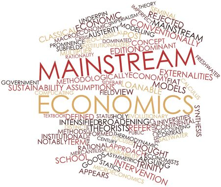 intervention: Abstract word cloud for Mainstream economics with related tags and terms