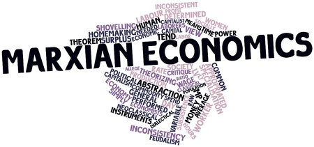 embody: Abstract word cloud for Marxian economics with related tags and terms Stock Photo
