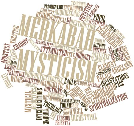 prophetic: Abstract word cloud for Merkabah mysticism with related tags and terms Stock Photo