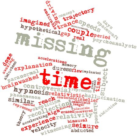 predicted: Abstract word cloud for Missing time with related tags and terms Stock Photo