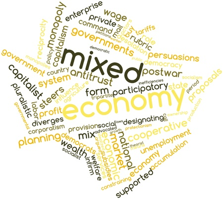 participatory: Abstract word cloud for Mixed economy with related tags and terms Stock Photo