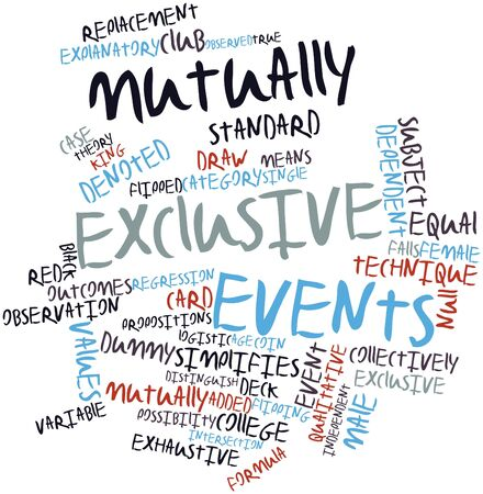 equal to: Abstract word cloud for Mutually exclusive events with related tags and terms Stock Photo
