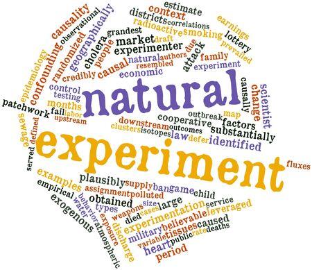 observational: Nube palabra abstracta para el experimento natural con etiquetas y t�rminos relacionados Foto de archivo