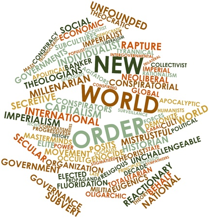 imperialism: Abstract word cloud for New World Order with related tags and terms