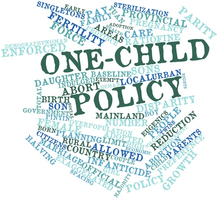 sterilization: Abstract word cloud for One-child policy with related tags and terms