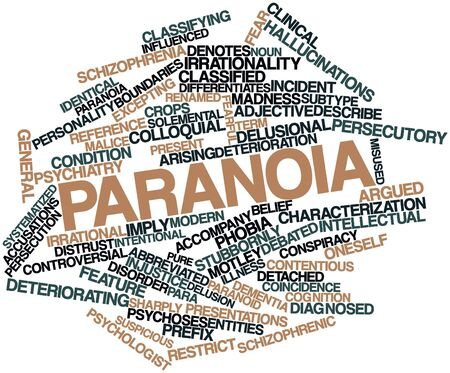 abbreviated: Abstract word cloud for Paranoia with related tags and terms