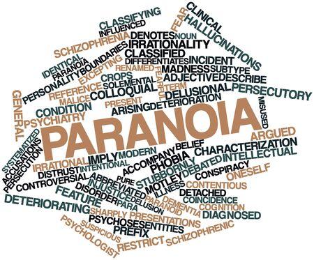 paranoia: Word cloud astratto per Paranoia con tag correlati e termini
