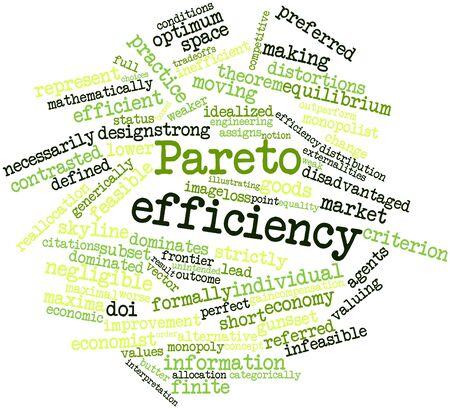 criterio: Word cloud astratto per l'efficienza Pareto con tag correlati e termini
