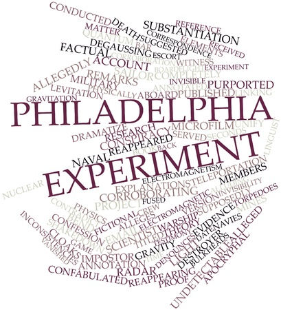 purported: Abstract word cloud for Philadelphia Experiment with related tags and terms Stock Photo