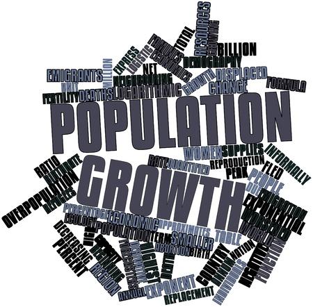 demografia: Nube palabra abstracta para el crecimiento de la población con las etiquetas y términos relacionados