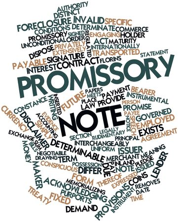 interchangeably: Abstract word cloud for Promissory note with related tags and terms