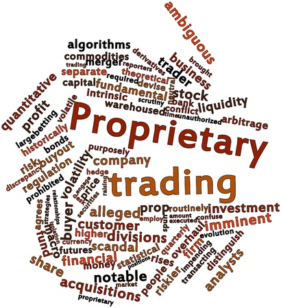 distinguish: Abstract word cloud for Proprietary trading with related tags and terms