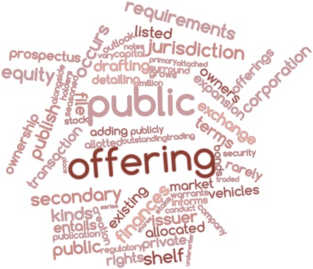 traded: Abstract word cloud for Public offering with related tags and terms Stock Photo