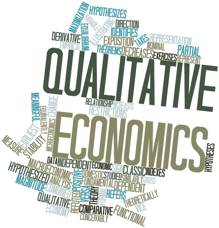 identifies: Abstract word cloud for Qualitative economics with related tags and terms