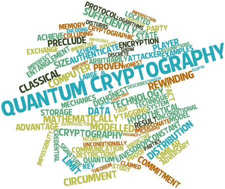 quantum: Abstract word cloud for Quantum cryptography with related tags and terms Stock Photo