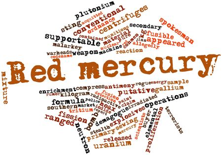 putative: Abstract word cloud for Red mercury with related tags and terms Stock Photo