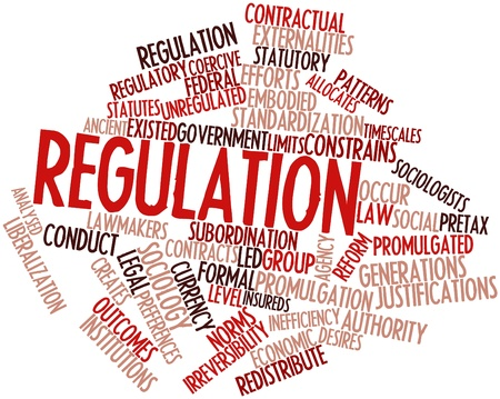 promulgated: Abstract word cloud for Regulation with related tags and terms Stock Photo