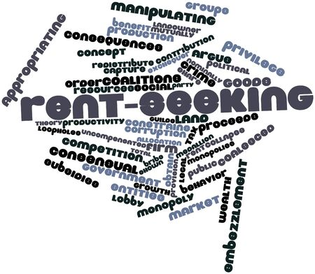 affirmed: Abstract word cloud for Rent-seeking with related tags and terms Stock Photo