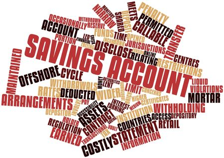 savings account: Abstract word cloud for Savings account with related tags and terms