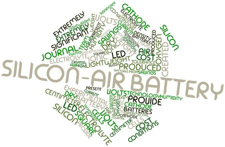 conventional: Abstract word cloud for Silicon-air battery with related tags and terms