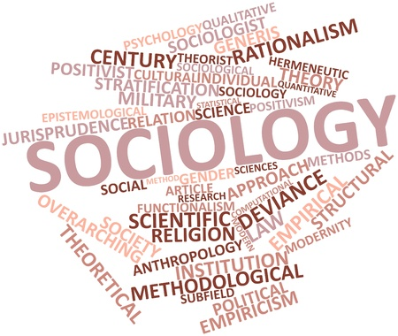 sociological: Abstract word cloud for Sociology with related tags and terms Stock Photo