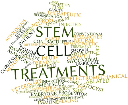 cell growth: Abstract word cloud for Stem cell treatments with related tags and terms