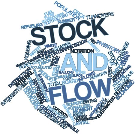 contexts: Abstract word cloud for Stock and flow with related tags and terms Stock Photo