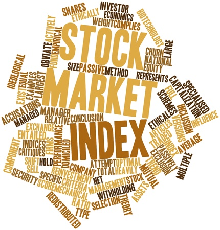 indices: Abstract word cloud for Stock market index with related tags and terms