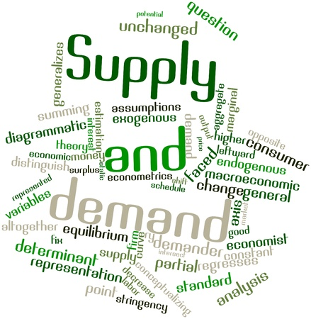 invents: Abstract word cloud for Supply and demand with related tags and terms Stock Photo