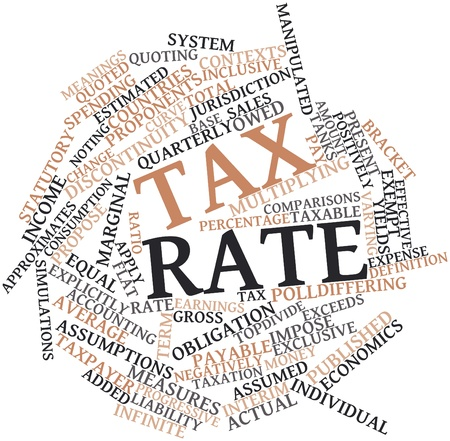 contexts: Abstract word cloud for Tax rate with related tags and terms Stock Photo