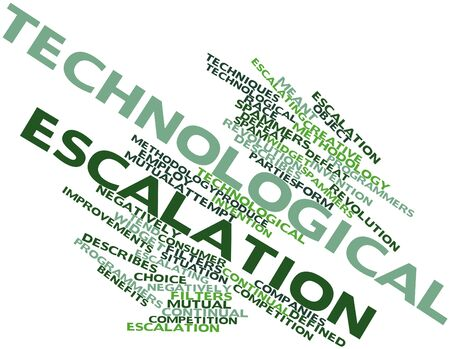 negatively: Abstract word cloud for Technological escalation with related tags and terms Stock Photo