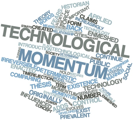 Abstract word cloud for Technological momentum with related tags and terms Stock Photo