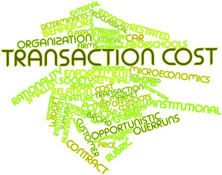determinants: Abstract word cloud for Transaction cost with related tags and terms Stock Photo