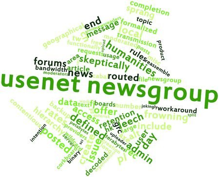 Abstract word cloud for Usenet newsgroup with related tags and terms Stock Photo - 16559327