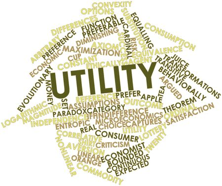 implications: Abstract word cloud for Utility with related tags and terms Stock Photo