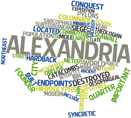 intercity: Abstract word cloud for Alexandria with related tags and terms Stock Photo
