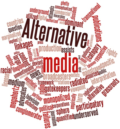 participatory: Abstract word cloud for Alternative media with related tags and terms