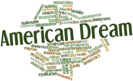dream land: Abstract word cloud for American Dream with related tags and terms