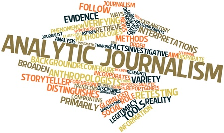analytic: Abstract word cloud for Analytic journalism with related tags and terms Stock Photo