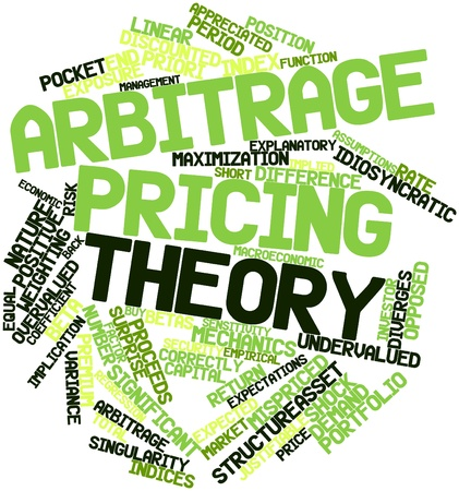 predicted: Abstract word cloud for Arbitrage pricing theory with related tags and terms Stock Photo