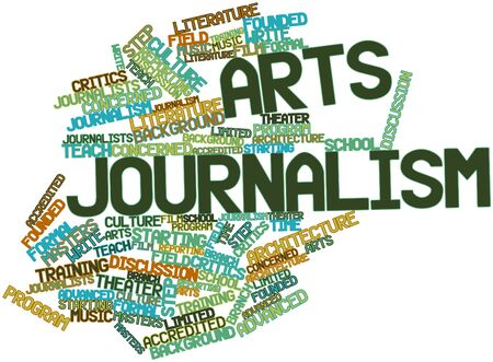 Abstract word cloud for Arts journalism with related tags and terms Stock Photo - 16571856