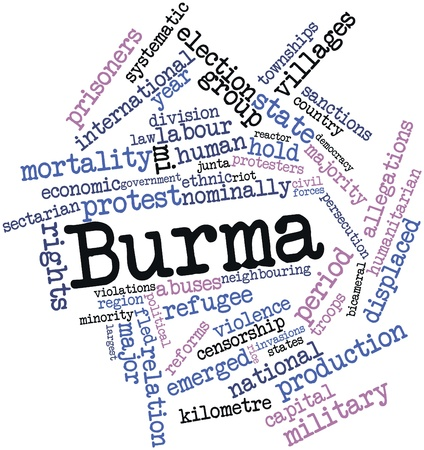 kilometre: Abstract word cloud for Burma with related tags and terms