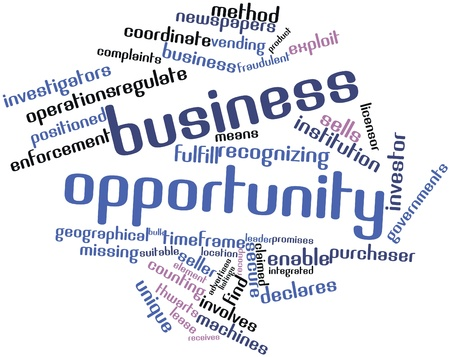 listings: Abstract word cloud for Business opportunity with related tags and terms