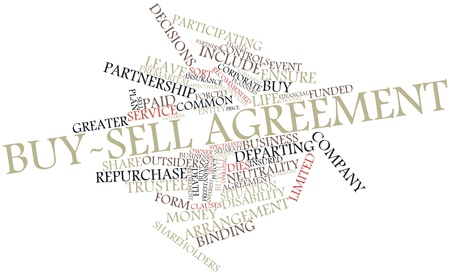 financial agreement: Abstract word cloud for Buy-sell agreement with related tags and terms