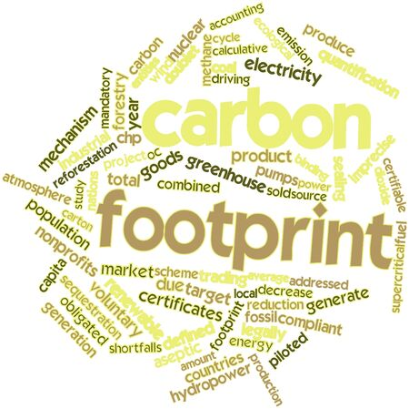 emission: Abstract word cloud for Carbon footprint with related tags and terms Stock Photo