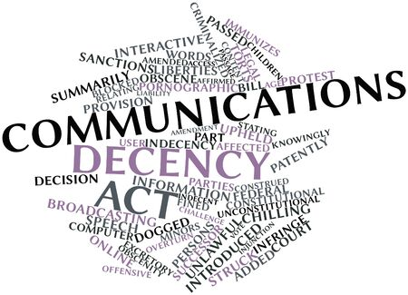 injunction: Abstract word cloud for Communications Decency Act with related tags and terms
