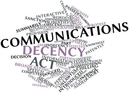 supposedly: Word cloud astratto per Communications Decency Act con tag correlati e termini Archivio Fotografico
