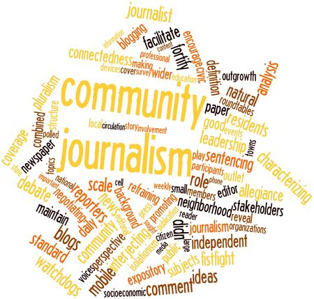 connectedness: Abstract word cloud for Community journalism with related tags and terms Stock Photo