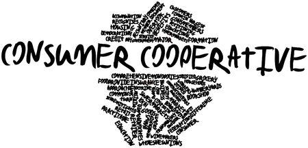 cooperativismo: Nube palabra abstracta para cooperativa de consumo con etiquetas y términos relacionados