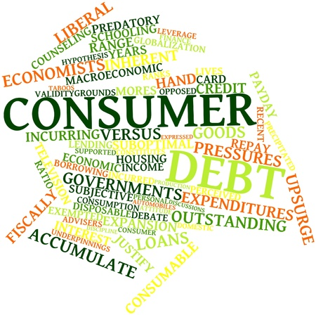 leverage: Abstract word cloud for Consumer debt with related tags and terms